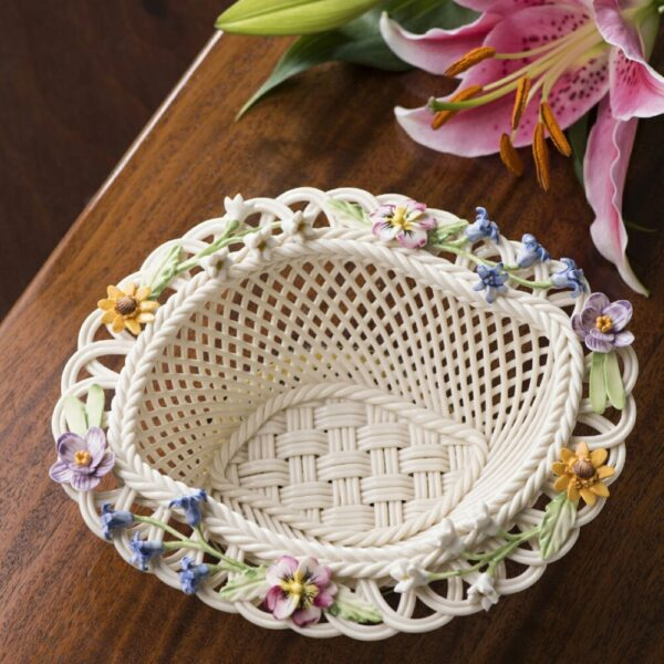 collectible Belleek Spring Basket Handwoven china and hand-painted decorations.