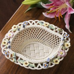collectible Belleek Summer Basket Handwoven china and hand-painted decorations.