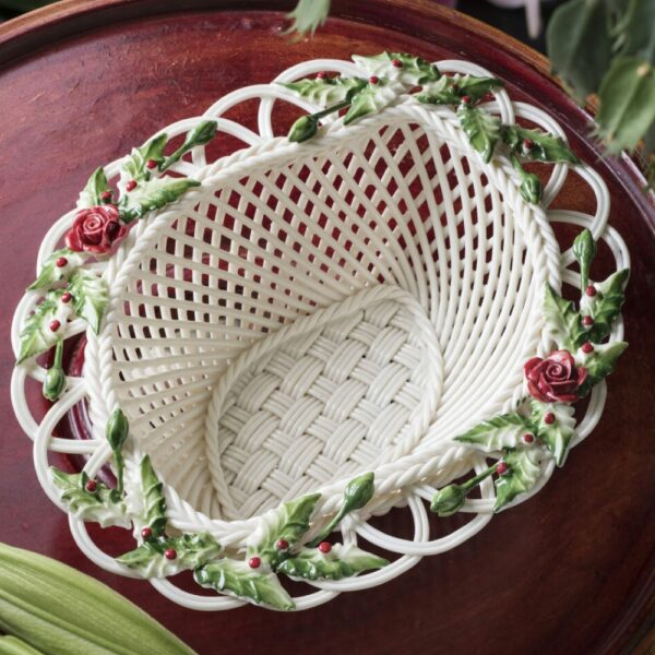 collectible Belleek Winter Basket Handwoven china and hand-painted decorations.