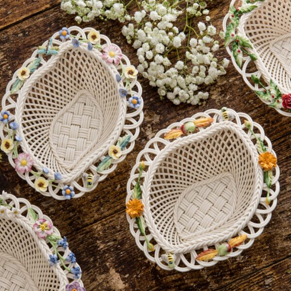 collectible Belleek Season Basket Handwoven china and hand-painted decorations. Spring Summer Autumn