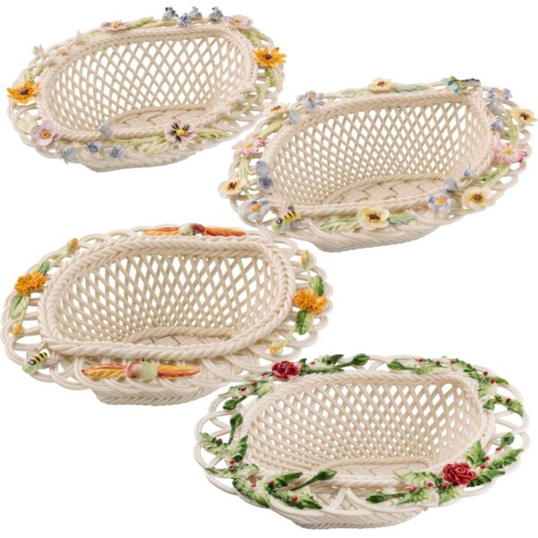 collectible Belleek Season Basket Handwoven china and hand-painted decorations. Spring Summer Autumn Winter
