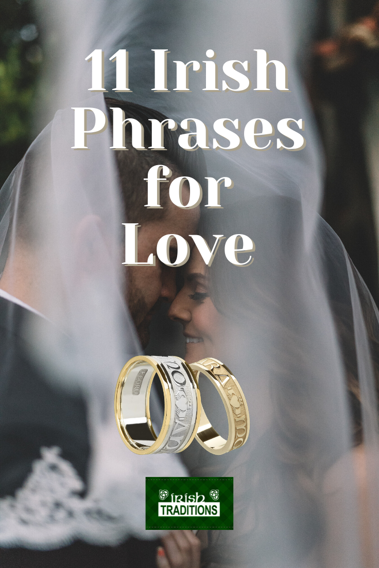 11 Irish Phrases for Love Pinnable Image of bride and groom