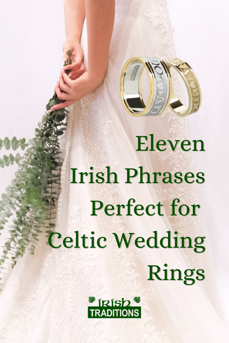 11 Irish Phrases for Love pinnable image of a bride