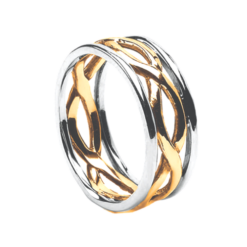 Celtic Infinity Wedding Band Yellow Gold with White Rails