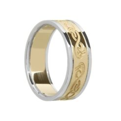 Ladies Celtic LeCheile Wedding Ring with Trims Yellow Gold White Trims