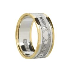 Gents Claddaghs Wedding Band White Gold with Yellow Rails
