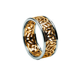 Ladies Trinity Knot Filigree Wedding Band Yellow with White Rails