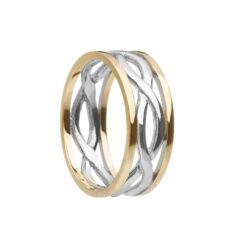 Gents Celtic Infinity Wedding Band White with Yellow Rails