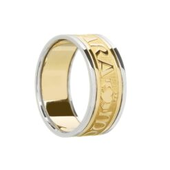 "Gents Original ""Mo Anam Cara"" Wedding Band Yellow with White Rails"