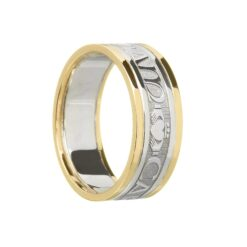 "Ladies Original ""Mo Anam Cara"" Wedding Band White with Yellow Rails"