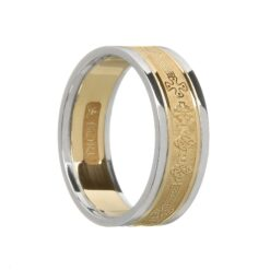 Ladies Celtic Cross Wedding Band Yellow with White Rails