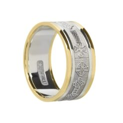 Gents Celtic Cross Wedding Band White with Yellow Rails