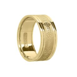 Gents Celtic Cross Wedding Band Yellow Gold with Yellow Rails