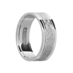 Ladies Celtic Cross Wedding Band White with White Rails