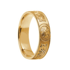 Wide Yellow Gold Celtic Warrior Wedding Ring