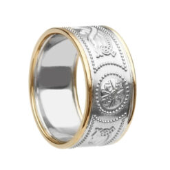 Extra Wide With Rails White Gold Yellow Rails Celtic Warrior Wedding Ring
