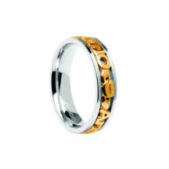 Gents Contemporary Mo Anam Cara Wedding Band White with Yellow Lettering