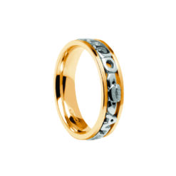 Ladies Contemporary Mo Anam Cara Wedding Band Yellow with White Lettering