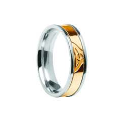 Contemporary Trinity Knot Center Detail Wedding Band White Band with Yellow Center Ring
