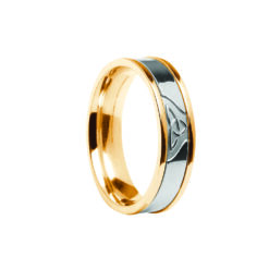 Contemporary Trinity Knot Center Detail Wedding Band Yellow Band with White Center Ring