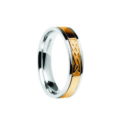 Contemporary Lovers Knot Center Detail Wedding Band White Band with Yellow Center Ring