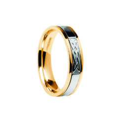 Contemporary Lovers Knot Center Detail Wedding Band Yellow Band with White Center Ring