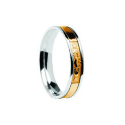 Contemporary Claddagh Center Detail Wedding Band White Band with Yellow Center Ring