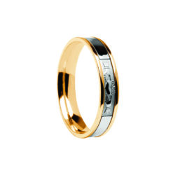 Contemporary Claddagh Center Detail Wedding Band Yellow Band with White Center Ring
