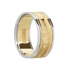 Gents Claddaghs Wedding Band Yellow Gold with White Rails