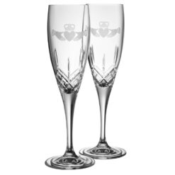 Crystal Claddagh Champagne Flutes Galway Crystal