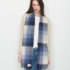 Denim Colored Merino Woven Wool Scarf