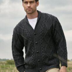 Shawl Collar Gents Cardigan Charcoal