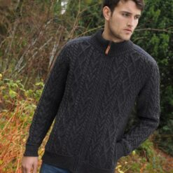 Zip Up With Tweed Trim For Gents