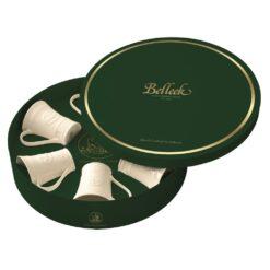 set of 6 Belleek Claddagh Mugs in Green Collectors Hat Box